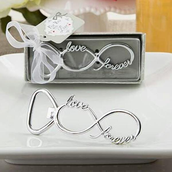 Silver Tone Bottle Openers Wedding Favors Decorations, Gift Box, Bow Knot Love Shaped, Party Supplies