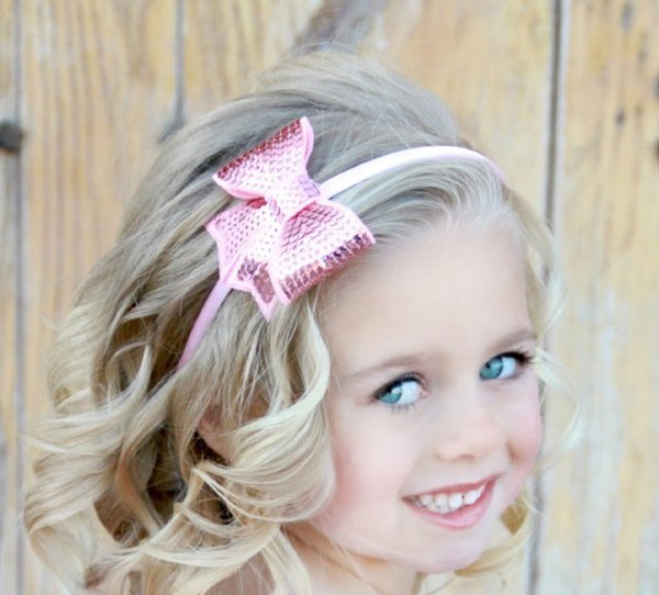 2015 pin wheel ribbon Bow Baby embroidery sequins bowknot baby hair hair band Baby Girl Boutique bows Hair band girl hair accessories D675J