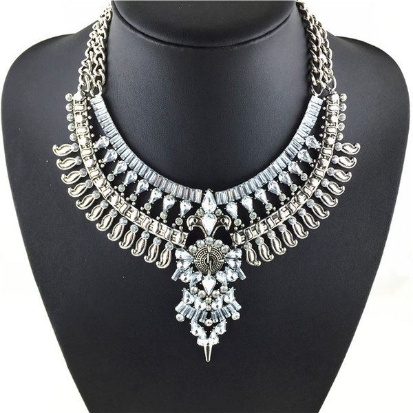 Wholesale-2015 Hot New Fashion Vintage Necklaces & Pendants Big Collar Necklace Gold Necklace Crystal Jewelry Statement Necklace