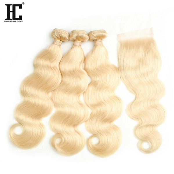 Top Selling #613 Blond Human Hair Bundle Lace Closure 8A Mink Brazilian Hair 3 Bundles Body Wave with Lace Cloaure Bundles with Closure
