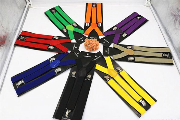 Factory price Fashionable 36color Clip-on Unisex Pants Y-back Elastic Adjustable Suspender Brace 300pcs free shipping DHL 60084