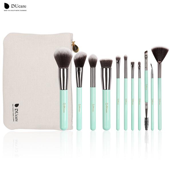 Ducare Makeup Brushes Set 11pcs Professional Brushes Light Green Cosmetics Brush Set With Bag Portable Make Up Brushes Tools