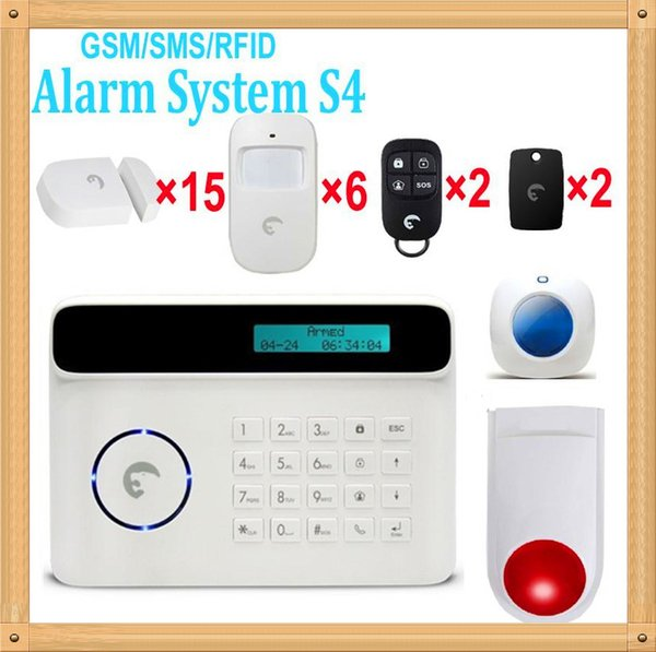 Free Shipping DHL, Wireless GSM Alarm System For Home security System with PIR motion sensor /Door Sensor GSM band