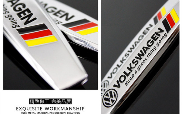 Volkswagen Germany Flag Auto Metal Leaf Plate Logos Vw Car Sticker
