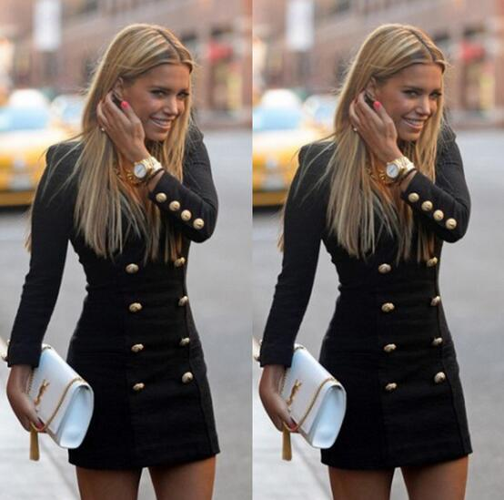 best selling Dress Europe US hot style pencil skirt personality fashion long-sleeved dress buttons putting new double-breasted coat v-neck