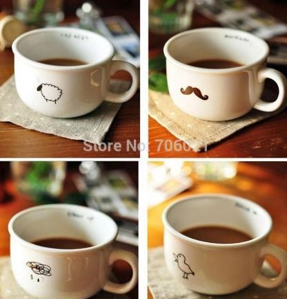 Tazza sveglia all'ingrosso di Zakka della tazza del latte di nuovo stile della prima colazione Tazza sveglia creativa degli amanti di tazza di ceramica Regalo sveglio di compleanno