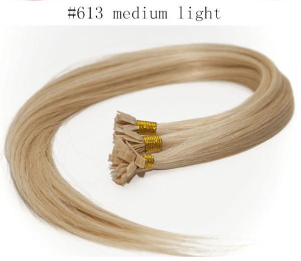 "grade 5A-1g /s 100g/pack Brazilian remy Italian keratin flat tip hair extensions 16""-24"" 613# bleach blonde dhl free shipping"
