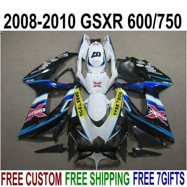 ABS full fairing kit for SUZUKI GSXR750 GSXR600 2008-2010 K8 K9 white black DARK DOG fairings set GSXR600/750 08 09 10 KS75