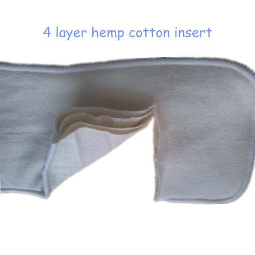 best selling Free Shipping 50 pcs 4 Layer Organic Hemp Cotton Insert for baby Cloth Diaper nappy, 55% hemp, 45% orgac cotton