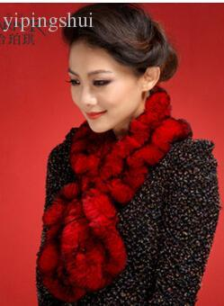 Wholesale-FS15 New Real Rabbit fur scarf wrap cape shawl neck warmer women fur scarf in fashion free shipping 4 colors