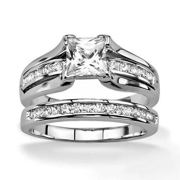 Fashion Simple Femmes Or Blanc Rempli quatre griffes Crystal CZ Love Ring Taille 6-9