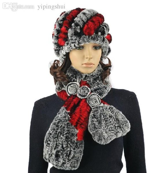Wholesale-H288-Soft winter cap for women,natural rex rabbit fur knitted autumn winter hat and scarf sets