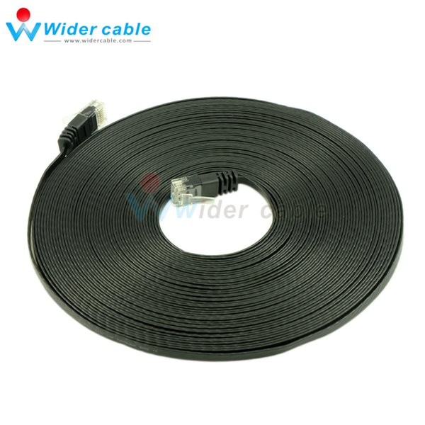 50ft 8P8C 4Pairs Ultra Flat CAT6 Patch cord Ethernet Lan Cable For Internet Black Color 1.1mm Thickness