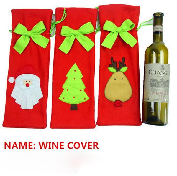 DHL freeshipping Tie Vin Bouteille Couverture Sacs Pour Décorations De Noël Enfants Cadeau Merry Christmas Bar Outils Meilleur Cadeau pour Noël Bar