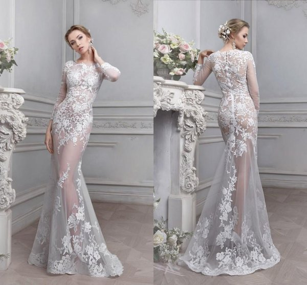 2017 Vintage Lace See Through Wedding Dress Sheer Illusion Bodice ...