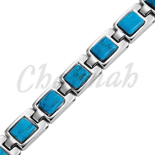 Magnetic Stainless Steel Bracelet Ladies Blue Semi-Precious Stones 2015 Jewelry Bangle Free Shipping Female via Hong Kong Post