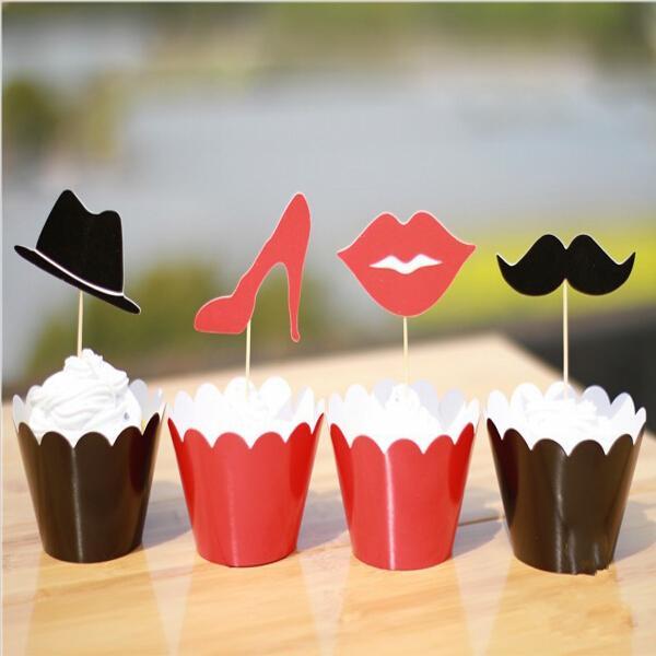 Labios clásicos / Bigotes / Tacones / Diseño de Sombrero Envolturas de Cupcake Decoración de Cajas Copas de Pastel con Selecciones de Toppers para Suministros de Boda