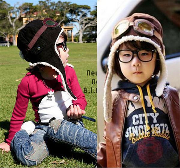 HOT 2 colors children winter pilot hat Cute Baby for Boy Girl Kids Pilot  Aviator Cap 93f65d73ecee