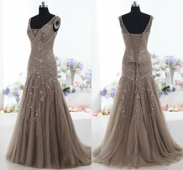 top popular Actual Images 2019 Vintage Mother of the Bride Dresses Mermaid V Neck Applique Beads Tulle Corset Custom Made Mother Formal Evening Gowns 2019