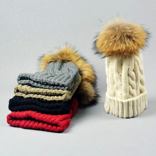 Quality Cable Knitted Acrylic Rib Beanies Racoon Dog Fur Ball For Adults Mens Womens Winter Hip Hop Pom Rib Hats Head Ears Warmer Snow Cap
