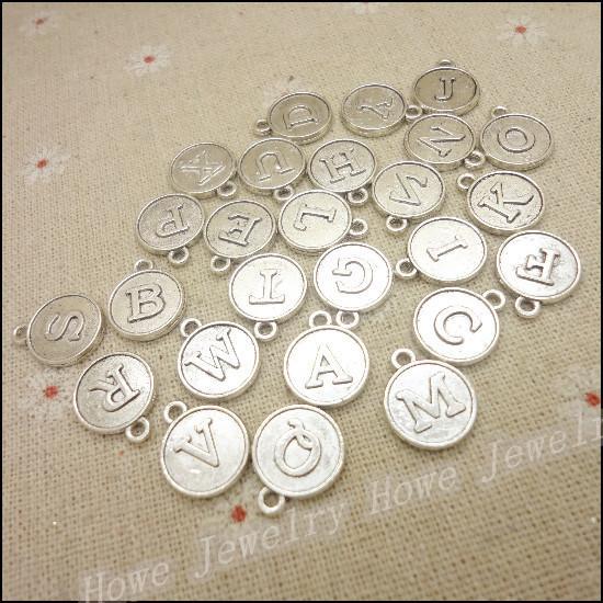 Livraison gratuite 156 pcs Vintage Charms MIX lettre / alphabet Pendentif Antique argent / bronze Fit Bracelets Collier BRICOLAGE Fabrication de Bijoux En Métal