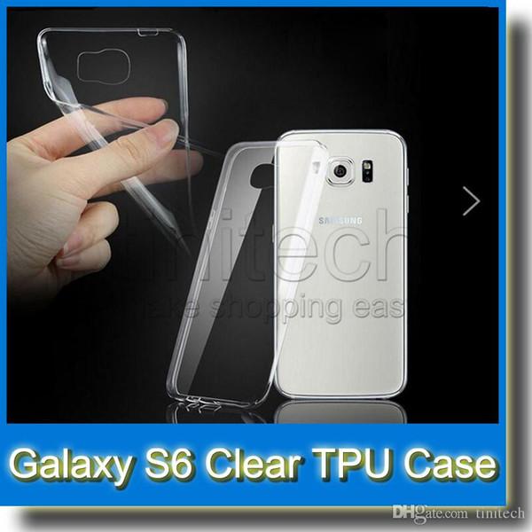 S6 Cas 0.3mm Super Slim Doux TPU Gel Cas pour Samsung Galaxy S6 G9200 Cristal Clair En Caoutchouc Couverture Arrière Shell Sac pour Galaxy S6