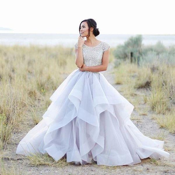 2019 Novo Sparkly Beading Top Vestidos De Noiva Organza Ruffles Vestido De Noiva Elegante Verão Mangas Curtas Vestidos de Casamento de Praia 051