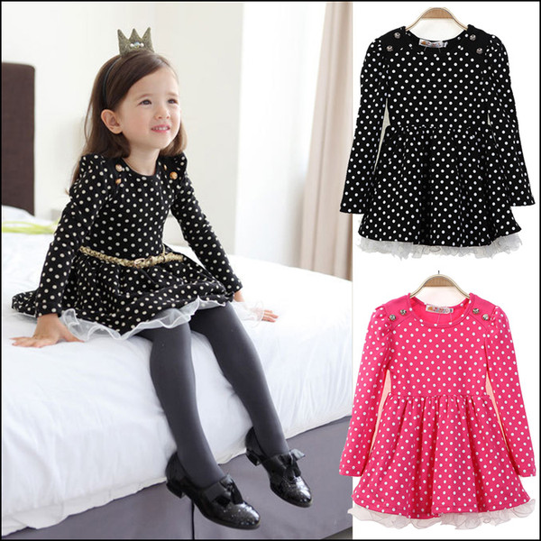 Girls long sleeve Dress 2-8Y Kids Autumn clothes children's dots dresses with belt Princess Party Dress free shipping MOQ:100pcs SVS0468#