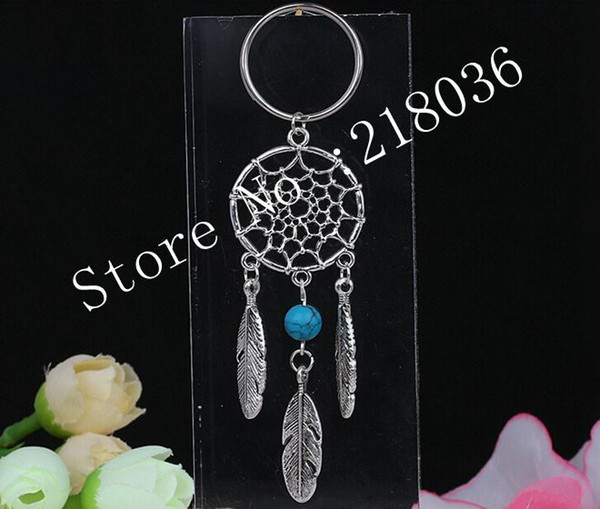 best selling 50PCS Vintage Silver Dream Catcher Turquoise&Opal Charms HandBag Keychain Key Chain Jewelry For keys Car Key Rings Gift DIY Accessories U37