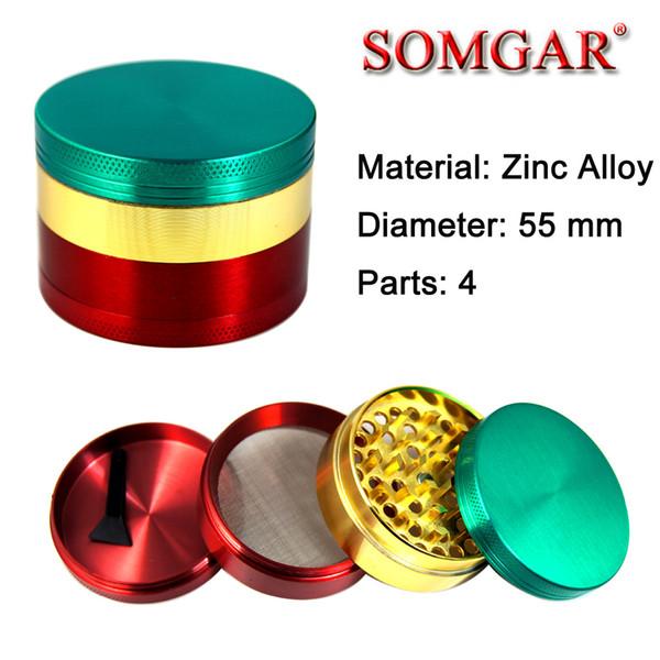 4layer / 55mm (2.2 pulgadas) Grindhouse Metal hierba cnc dientes filtro amoladora de tabaco herbario Variedad de colores (Rasta) vaporizador de hierba seca # GR131