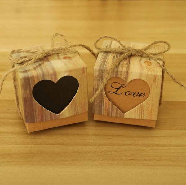 Heart Kraft Paper Candy Box Square Shape Wedding candy box Favor Gift Party Supply Packaging Bag with Burlap Twine Chic wedding Supplies