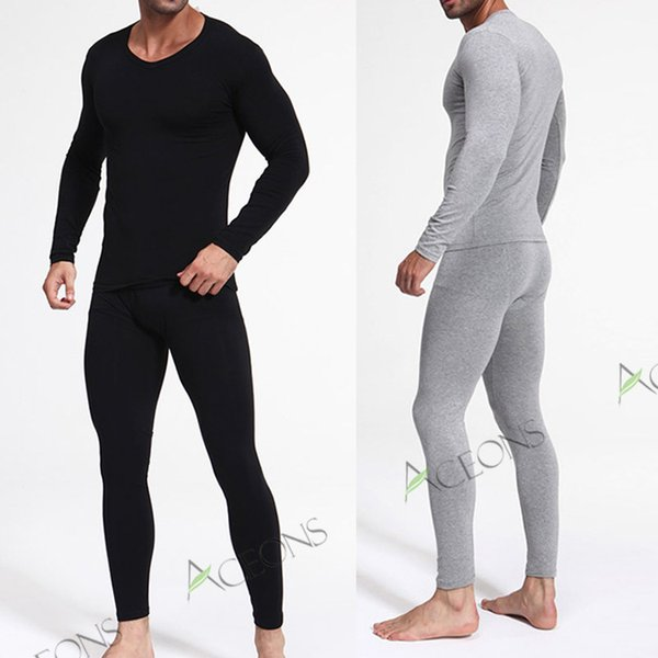 2017 Bamboo Fiber Thermal Underwear Men Winter V Neck Ultra Thin ...