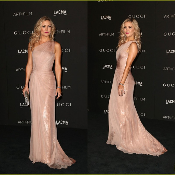 top popular Red Carpet Celebrity Dress CMA Kate Hudson One Shoulder Sheath Chiffon And Sequins Floor length Evening Gowns Free Shipping Prom Dress 2019