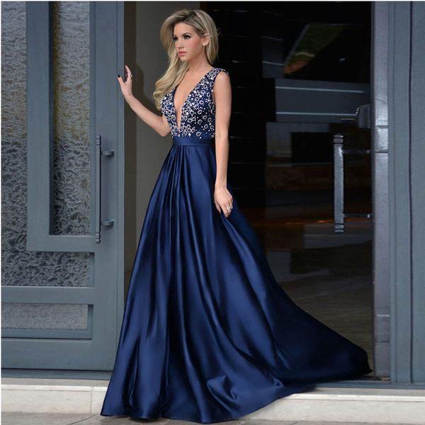 Compre Glamorosa Una Línea De Vestido De Fiestadeep V Cuello Sweep Tren Royal Blue Vestidos Largos Fiesta De Noche Con Rebordear Vestidos De Fiesta A