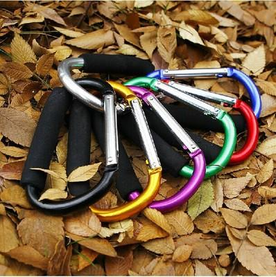Sponge Large Size Colorful Aluminum Alloy D Shape Climbing Button Carabiner Keychain outdoor roller skating shoes buckle supermarket hook