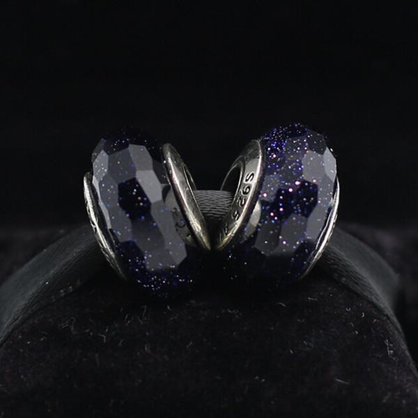 5 pcs S925 Sterling Silver Screw Midnight Azul Facetado Murano Glass Charm Beads Serve Para Pandora Jóias Europeu Charm Bracelets