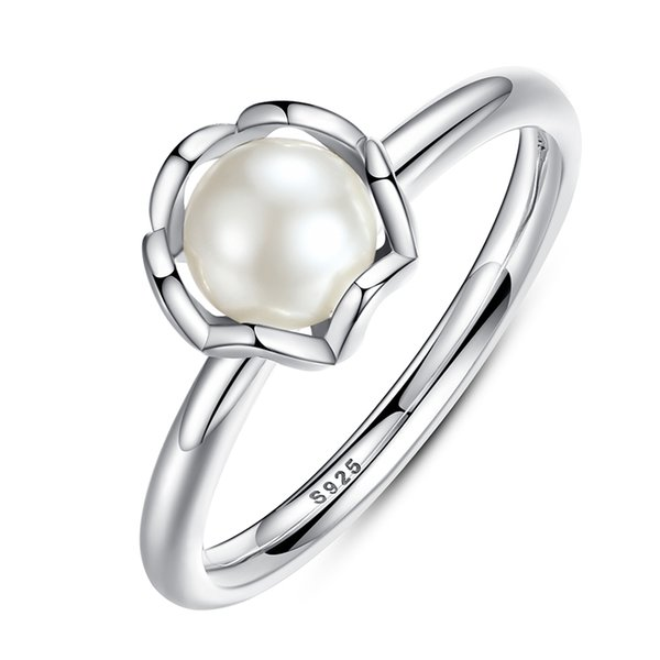 Elegant 925 Sterling Silver Rings with White Freshwater Cultured Pearl Unique Engagement Promise Rings R016