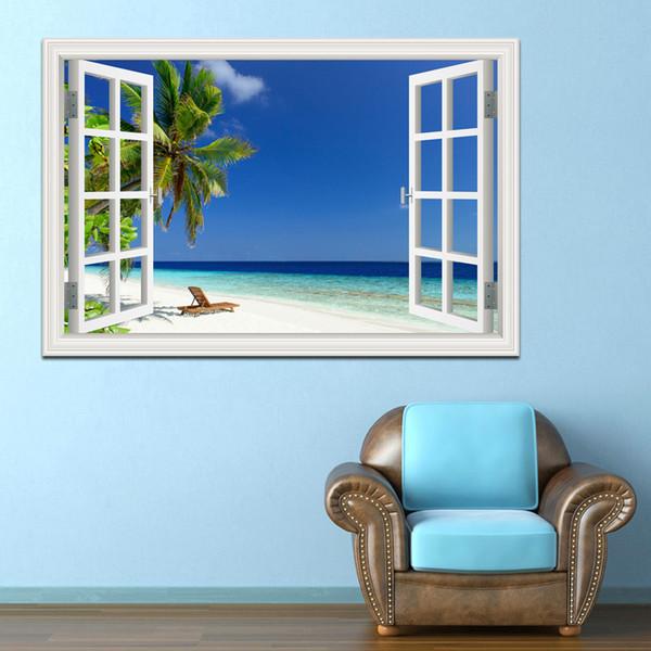 Blue Sky Beach Coconut Tree Tropic Scenery 3D Wall Sticker Sunset Seascape Removable Wallpaper Creative Window View Home Decor