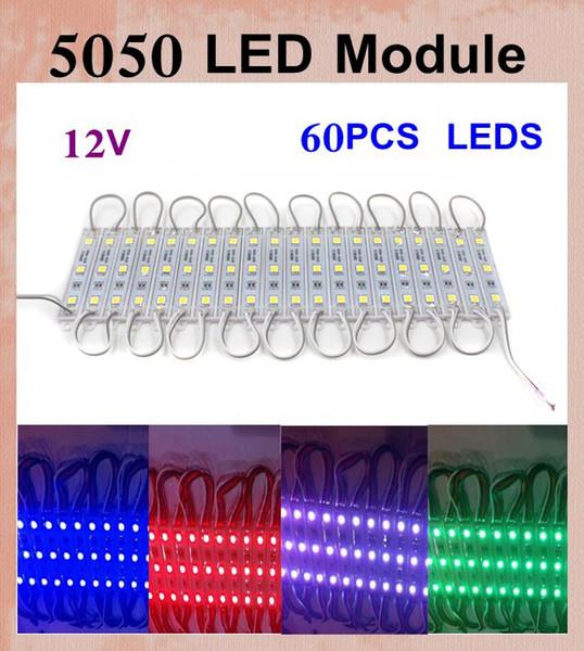 5050 LED Modules 20 pcs/set DC 12V SMD 3 LED Module 60PCS leds rgb led module Waterproof IP65 led display module vs led module p10 DT015