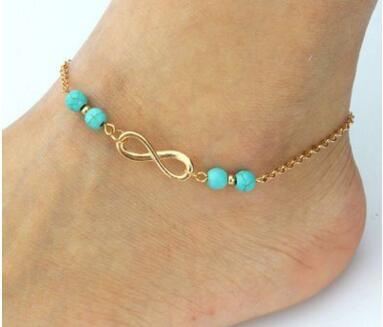 150pcs Anklet Beads Chain DHL New Summer Style Turquoise Beads Fashion Chain Foot Anklet Women Silver Bracelet Leg Jewelry for Lady