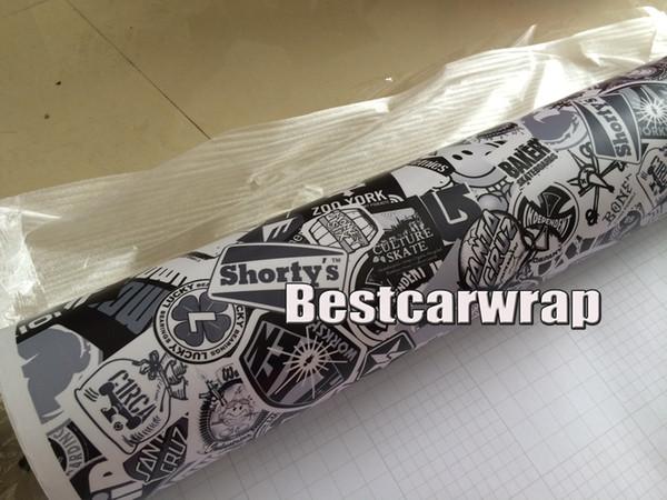 Nero bianco StickerBomb Vinile reale Loghi Opaco / lucido Autoadesivo Vinile Avvolgere adesivo bomba Vinile Car Wrap adesivi foil 1.52x30 m