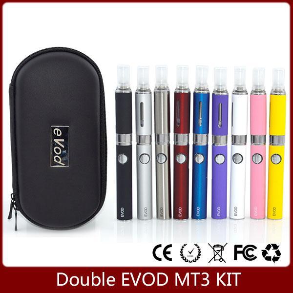 Double EVOD MT3 starter kit Electronic Cigarette MT3 atomizer 650mAh 900mAh 1100mAh Evod Battery vaporizer zipper kit evod coils 9 Colors