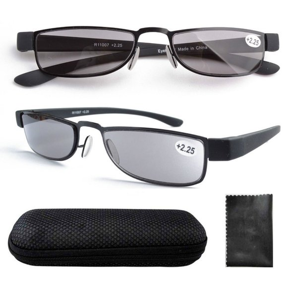 Al por mayor-R11007 Marco de acero inoxidable gris teñido de la lente de plástico Temple Reading Glasses w / case +1.0,1.25,1.5,1.75,2.0,2.25