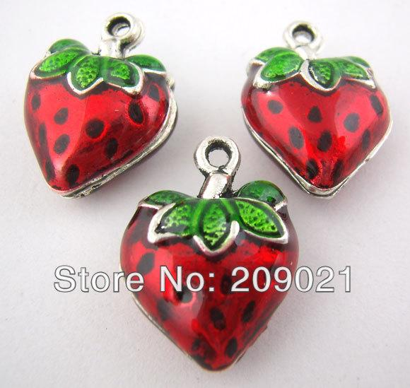 wholesale-20pcs red enamel strawberry charms pendants 20x14mm finding