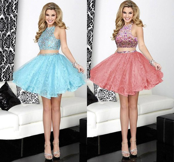 Cheap 2015 New Trend Two Pieces Homecoming Dresses 2016 Crystals ...