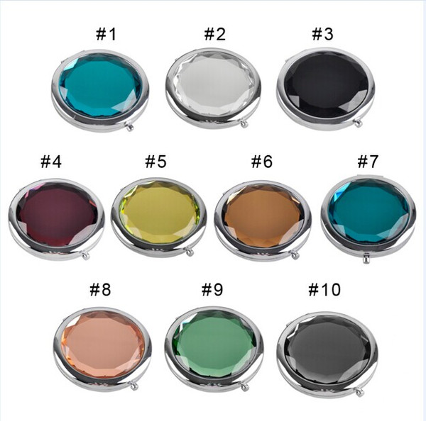 Cosmetic Compact Mirror Crystal Magnifying Make Up Mirror Wedding Gift for Guests 6 colors to choose 0605003