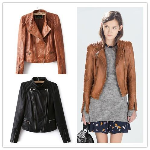 Toptan Satış - Toptan-Deri Ceket Kadın Moda mandarin yaka bombardıman süpernova şort ceket deri jaqueta couro gündelik elbise deseni