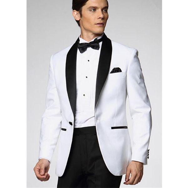 White Wedding Suits For Men Black Groomsmen Tuxedos(Jacket+Pants+ ...