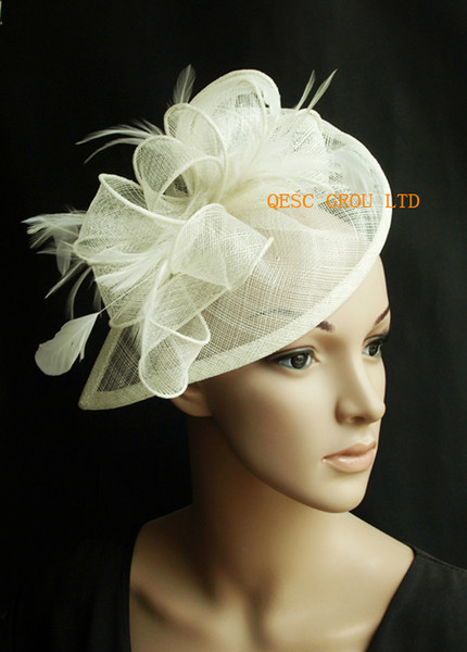 top popular Cream ivory Sinamay fascinator hat for wedding party. 2019