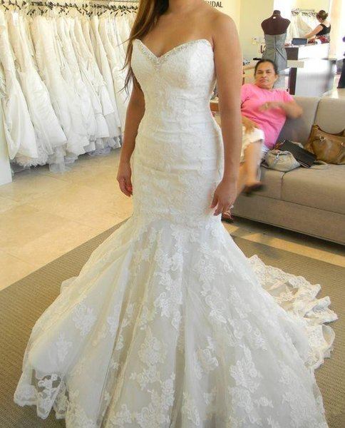 Bling Bling Lace Mermaid Wedding Dresses 2017 Sweetheart Ruffles Real Picture Crystal Ivory Bridal Gowns Custom Made Open Back Lace-up Dress